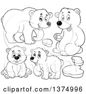 Clipart Of Black And White Polar Bears And Ice Royalty Free Vector Illustration by visekart