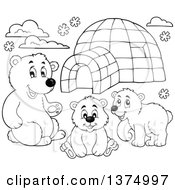 Clipart Of Black And White Polar Bears By An Igloo Royalty Free Vector Illustration by visekart
