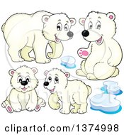 Clipart Of Polar Bears And Ice Royalty Free Vector Illustration by visekart