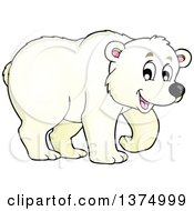 Clipart Of A Happy Walking Polar Bear Royalty Free Vector Illustration