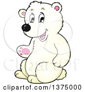 Clipart Of A Happy Polar Bear Sitting Upright And Presenting Royalty Free Vector Illustration by visekart