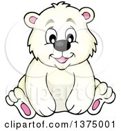 Clipart Of A Happy Polar Bear Sitting Royalty Free Vector Illustration by visekart