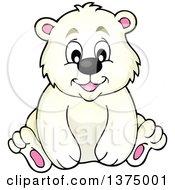 Clipart Of A Happy Polar Bear Sitting Royalty Free Vector Illustration