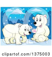 Clipart Of Polar Bears In The Snow Royalty Free Vector Illustration by visekart