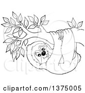 Clipart Of A Black And White Happy Sloth Hanging From A Branch Royalty Free Vector Illustration by visekart