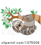 Clipart Of A Happy Sloth Hanging From A Branch Royalty Free Vector Illustration