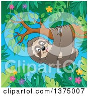 Clipart Of A Happy Sloth Hanging From A Branch In A Jungle Royalty Free Vector Illustration by visekart