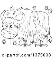 Clipart Of A Black And White Happy Yak In The Snow Royalty Free Vector Illustration by visekart