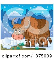 Clipart Of A Cute Happy Yak In A Winter Landscape Royalty Free Vector Illustration by visekart