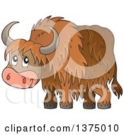 Clipart Of A Cute Happy Yak Royalty Free Vector Illustration