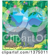 Clipart Of A Happy Anteater By A Nest In A Jungle Royalty Free Vector Illustration