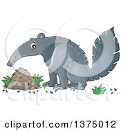 Clipart Of A Happy Anteater By A Nest Royalty Free Vector Illustration