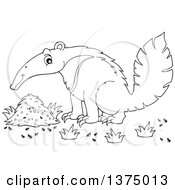 Clipart Of A Black And White Happy Anteater By A Nest Royalty Free Vector Illustration