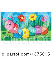 Clipart Of A Happy Colorful Caterpillar With Letters On Its Body Royalty Free Vector Illustration by visekart