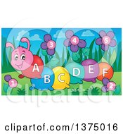 Clipart Of A Happy Colorful Caterpillar With Letters On Its Body And Number Flowers Royalty Free Vector Illustration by visekart