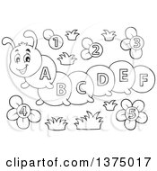 Clipart Of A Black And White Happy Caterpillar With Letters On Its Body And Number Flowers Royalty Free Vector Illustration by visekart