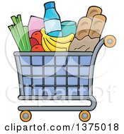 Clipart Of A Shopping Cart Full Of Groceries Royalty Free Vector Illustration by visekart
