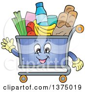 Clipart Of A Waving Shopping Cart Character Full Of Groceries Royalty Free Vector Illustration