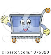 Clipart Of A Shopping Cart Character Waving Royalty Free Vector Illustration