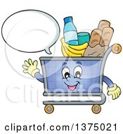 Clipart Of A Waving And Talking Shopping Cart Character Full Of Groceries Royalty Free Vector Illustration