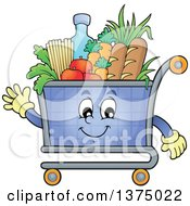 Clipart Of A Waving Shopping Cart Mascot Full Of Groceries Royalty Free Vector Illustration