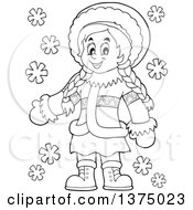 Clipart Of A Black And White Happy Inuit Eskimo Girl Presenting Royalty Free Vector Illustration by visekart
