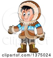 Clipart Of A Happy Inuit Eskimo Boy Presenting Royalty Free Vector Illustration by visekart