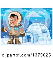 Clipart Of A Happy Inuit Eskimo Boy Presenting By An Igloo Royalty Free Vector Illustration