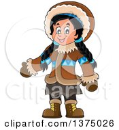 Clipart Of A Happy Inuit Eskimo Girl Presenting Royalty Free Vector Illustration by visekart