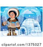 Clipart Of A Happy Inuit Eskimo Girl Presenting By An Igloo Royalty Free Vector Illustration by visekart