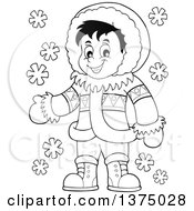 Clipart Of A Black And White Happy Inuit Eskimo Boy Presenting Royalty Free Vector Illustration