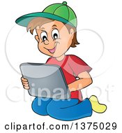 Clipart Of A Happy Brunette Caucasian Boy Kneeling And Using A Laptop Computer Royalty Free Vector Illustration by visekart