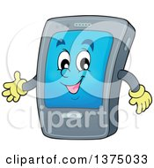Clipart Of A Cartoon Happy Gray Smart Phone Character Presenting Royalty Free Vector Illustration by visekart