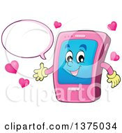 Clipart Of A Cartoon Happy Pink Smart Phone Character Talking And Presenting Royalty Free Vector Illustration by visekart