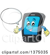 Clipart Of A Cartoon Happy Black Smart Phone Character Talking And Presenting Royalty Free Vector Illustration by visekart