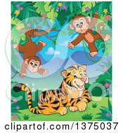 Clipart Of A Tiger And Monkeys In The Jungle Royalty Free Vector Illustration by visekart