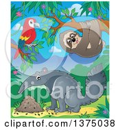 Clipart Of A Parrot Sloth And Anteater In The Jungle Royalty Free Vector Illustration by visekart