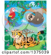 Clipart Of A Parrot Sloth And Tiger In The Jungle Royalty Free Vector Illustration by visekart
