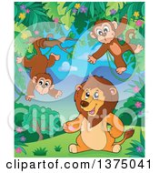 Clipart Of A Lion And Monkeys In The Jungle Royalty Free Vector Illustration by visekart