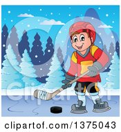 Clipart Of A Happy Caucasian Male Ice Hockey Player Playing On A Frozen Lake Royalty Free Vector Illustration by visekart