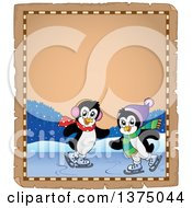 Clipart Of Penguins Ice Skating On A Parchment Page Border Royalty Free Vector Illustration