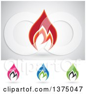 Colorful Fire Icon Logos With Shadows