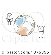 Clipart Of A Stick Business Man Hanging From A Line Crossing Earth With A Successful Man On The Other Side Royalty Free Vector Illustration