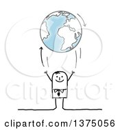 Clipart Of A Stick Business Man Tossing Up Planet Earth Royalty Free Vector Illustration by NL shop