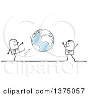 Clipart Of Stick Business Men Playing Kick Ball With Planet Earth Royalty Free Vector Illustration