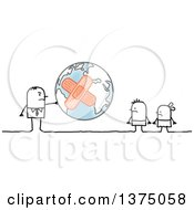 Clipart Of A Stick Business Man Holding A Bandaged Planet Earth Out To Children Royalty Free Vector Illustration