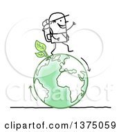 Clipart Of A Stick Man Hiking On A Green Planet Earth Royalty Free Vector Illustration