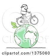 Clipart Of A Stick Man Riding A Bicycle On A Green Planet Earth Royalty Free Vector Illustration