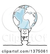 Clipart Of A Stick Atlas Business Man Struggling To Holding Up Planet Earth Royalty Free Vector Illustration