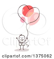 Clipart Of A Stick Business Man Holding A Heart Balloon Royalty Free Vector Illustration